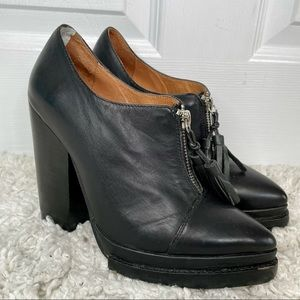 Jeffrey Campbell Black Leather Tassel Chunky Heels